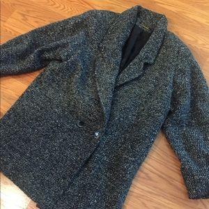 Vintage 80's tweed plaid blazer jacket coat